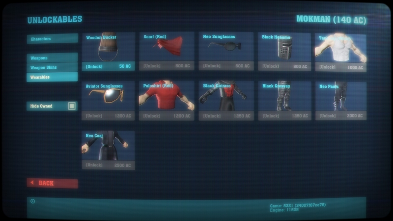 A list of unlockables - note the novelty hats.