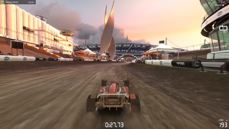 Of course it wouldn't be complete without dirt based racing segments.
