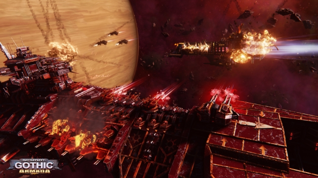 Chaos cruiser opening fire on an Imperial ship