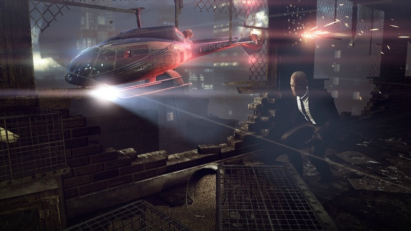 Yep, that's right - a helicopter chase scene...in Hitman game.