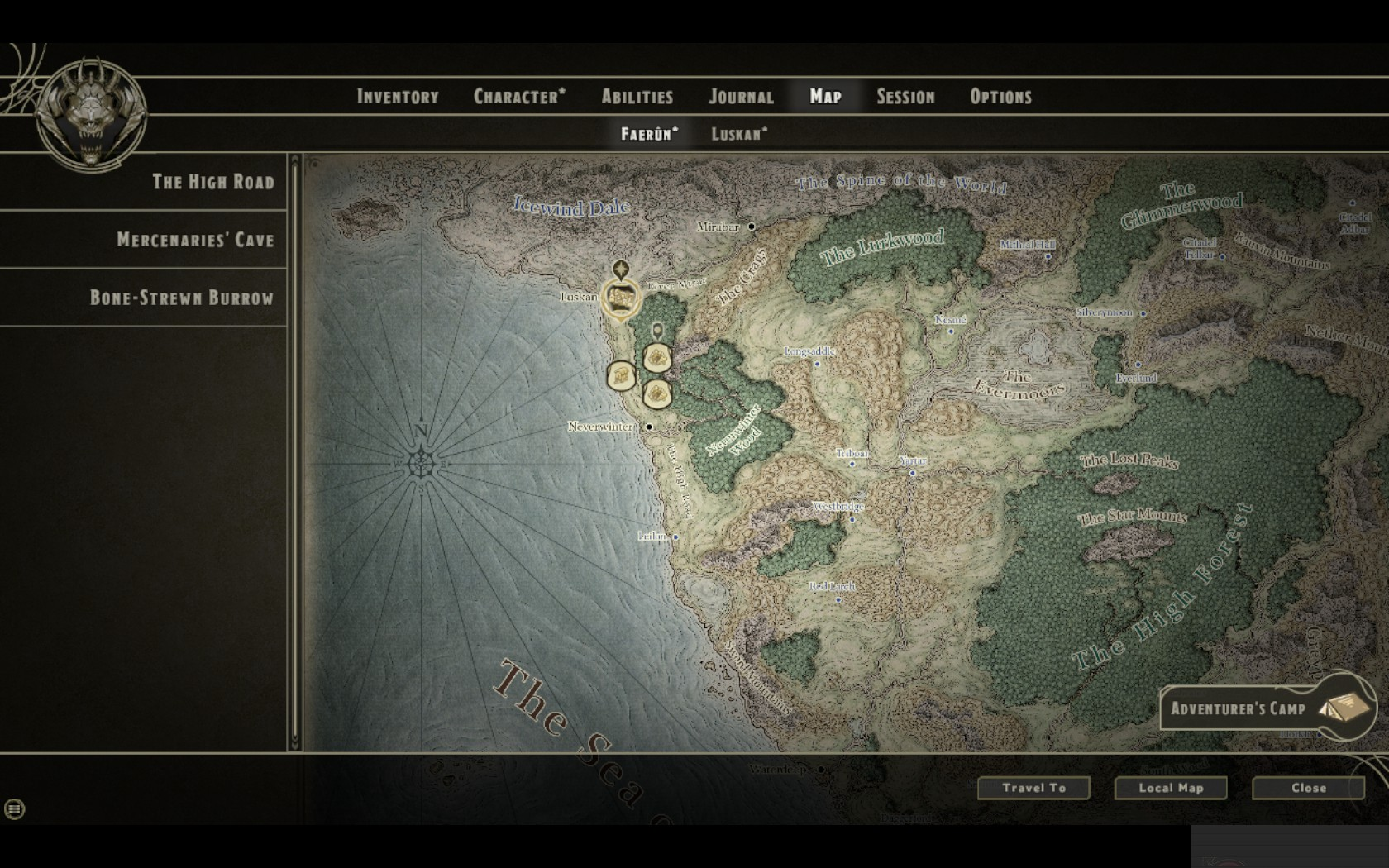The map reminds us of good old days in Icewind Dale.